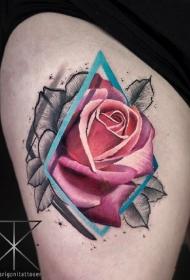 国外大师一组9张粉红玫瑰花纹身图案作品图案