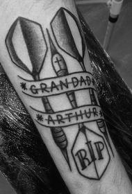 手臂上纹身图案   多款趣味十足的飞镖纹身图案
