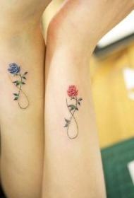 一组适合闺蜜姐妹情侣的简约手臂小清新纹身图案