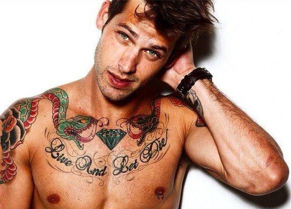 霸气的欧美风男简约纹身几何纹身图案
