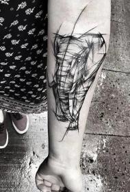 男生喜爱的小动物霸气纹身线条图
