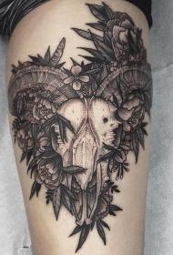 黑色的手臂简单线条纹身点刺技巧小动物纹身风景图案