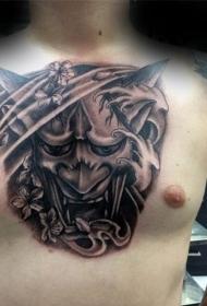 般若面具纹身   气势汹汹的般若面具纹身图案