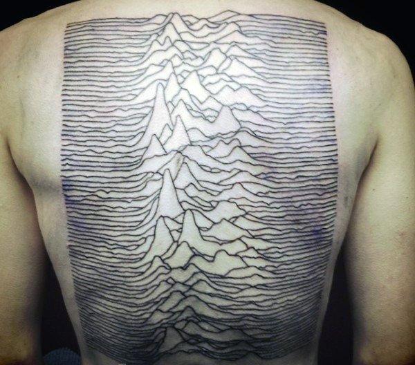 男生脊柱纹身   线条分明的男生脊柱纹身图案