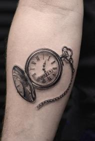 时钟纹身   记录时间的时钟纹身图案
