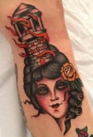 一组oldschool风格的女郎纹身图案