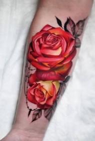一组彩色逼真玫瑰风格纹身图案