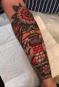 一组经典和美式传统的纹身图案