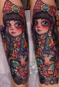 一组可爱的彩色花臂纹身图案