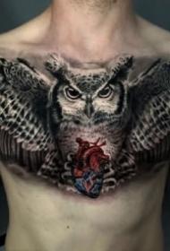 几款写实大花胸的纹身作品