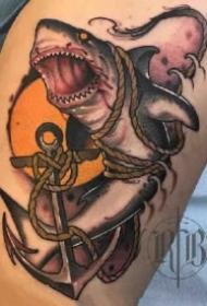 凶猛吓人的的一组school小白鲨纹身