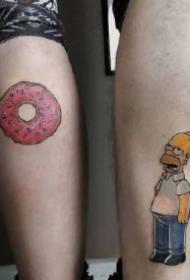 很可爱的9组卡通情侣纹身图案