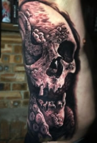 超逼真的几款写实骷髅纹身作品