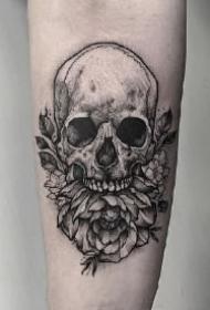 死亡也是重生的包臂包腿暗黑骷髅纹身作品