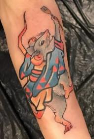 子鼠纹身:传统日式的老鼠纹身作品欣赏