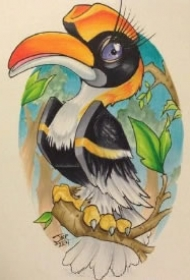 挺活泼可爱的一组school彩色小鸟纹身图案