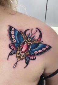 飞蛾刺青 school的彩色创意飞蛾纹身图案