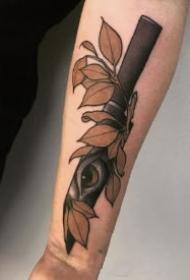 school风格的一组小刀匕首纹身作品