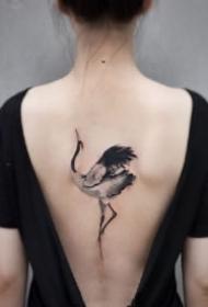 仙鹤刺青 中国风传统水墨仙鹤的纹身图案