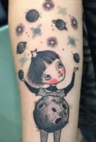 童真可爱的小女孩题材纹身图案