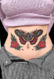 oldschool的一组漂亮蝴蝶纹身图案
