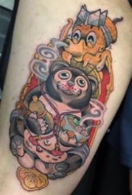 日式school动物吃拉面的纹身图案