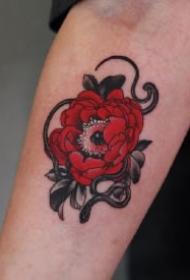 红花配蛇主题的12款纹身图案作品
