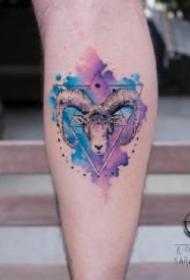 羊头刺青 适合十二生肖羊的一组羊纹身作品图案