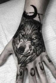 手背脚背的一组暗黑风纹身图案