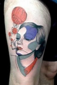 创意色块的9款抽象女郎纹身图案