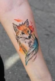 可爱的14款小狐狸纹身图案作品