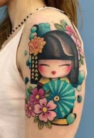 和风浴衣小娃娃 灵性且可爱的和服小日式艺伎纹身图案