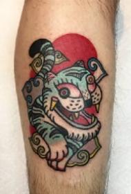 oldschool的趣味9款小老虎头纹身图案