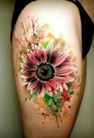 小清新的一组9款向日葵纹身图案