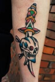 school风格的一组匕首刀剑纹身图案