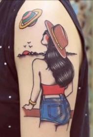 简笔插画女郎主题的9款纹身图案作品