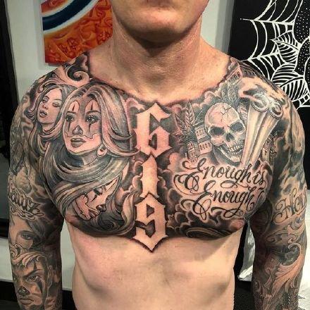 男性纹身花胸 男性胸前的9款黑色大花胸纹身图案