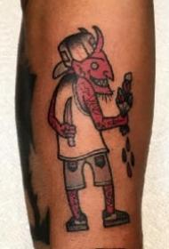 趣味school的一组红色小恶魔纹身图案