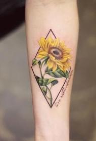 向日葵纹身图案 小清新的夏天味道