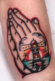 oldschool风格的一组花式祈祷之手纹身作品
