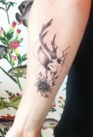 福禄之意的一组9款鹿纹身图案