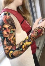 独具风格的new school大花臂纹身图案作品