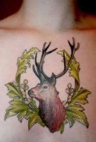 女生后颈背部的小清新鹿头鹿角纹身图案