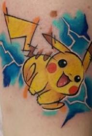 精灵宝可梦的一组比卡丘等纹身作品图案
