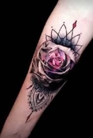 漂亮几何梵花的包臂纹身作品图案