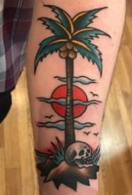 school风格的一组椰子树纹身作品图