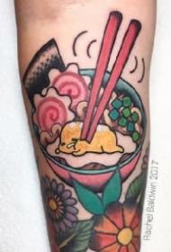 日式拉面主题的一组创意碗纹身图案