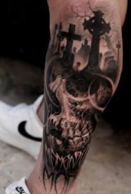 骷髅tattoo 不惧死亡,由死向生的暗黑色骷髅纹身图案