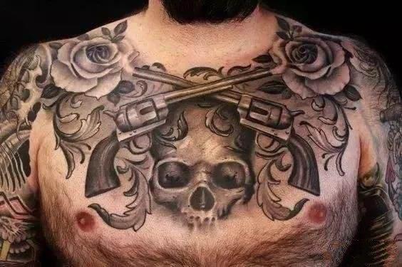 男士大花胸 黑色霸气的9款男性花胸纹身作品图案