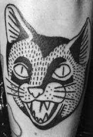 猫头纹身 一组9款黑猫头主题的纹身图案